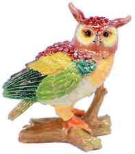 Owl On A Log Bird Rhinestone Bling Collectible Hinged Trinket Box Bhgp00154