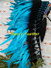 36inch turquoise chief indian feather headdress indian war bonnet