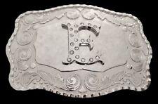 Western Belt Buckle Boucle De Ceinture Letter E Alphabet Initial Name Rhinestone