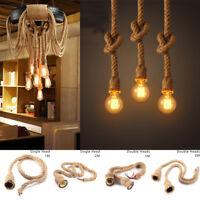 E27 Vintage Industrial Pendant Lamp Retro Edison Hemp Rope Ceiling Light Fixture