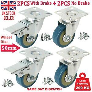 4 x Heavy Duty 50mm Rubber Swivel Castor Wheels with Brake Trolley Furniture UK