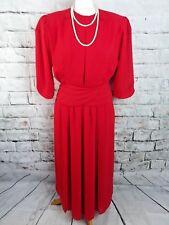 "True Vintage midi dress 10 Bust 38"" coral red retro 70s 80s 3/4 sleeve pleated"