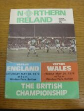19/05/1979 Northern Ireland v England [At Windsor Park] (Also Covers The Wales G