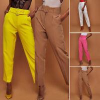Fashion OL Lady Tie Belt High Waist Trousers Paper Bag Slim Fit Cigarette Pants