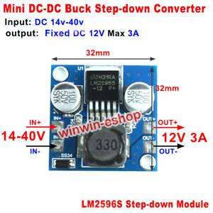 3A Mini DC-DC Buck Step Down 15V-38V 18V 24V 36V to 12V Volt Converter LM2596S
