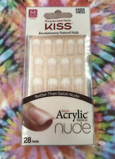 Kiss Acrylic Nude French Nails Natural Look Tips Medium Seamless Cashmere #KAN03