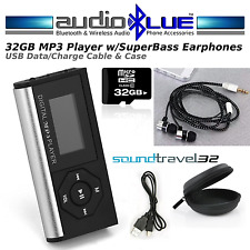 AudioBLUESoundTravel-32GB MP3 Media Player & Bass Headphones Cable Case Bundle