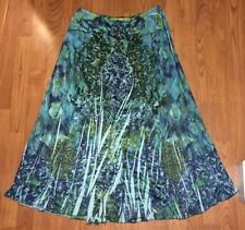 ONE WORLD Blue /Green Maxi Long Skirt  Polyester Lined Women's Size S