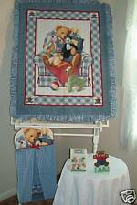 BLUE JEANS TEDDY BABY QUILT/NURSERY BEDDING/ACCCESORIES