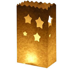 WEDDING PARTY TEA LIGHT CANDLE STAR DESIGN BAG - 5PK BEIGE PAPER