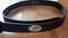 "Black Genuine Leather Belt 34"" with Deer Conchos"
