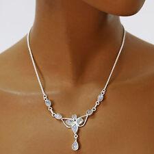 Mondstein Collier Kette Silber 925 Sterlingsilber Edelsteine Halskette Damen fey