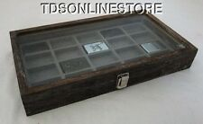 Rustic Coffee Color Glass Top Display Case Holds 20 Lighters Gray