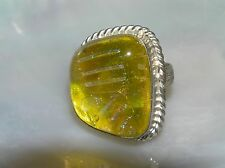 Estate HUGE Yellow with Pink & Blue Fused Glass in Silvertone Setting Ring Size
