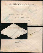 1920 GB Ufficiale Ministero delle Munizioni da guerra Earls Court ohm BUSTA documento