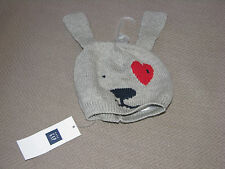 BABY GAP GRAY NAVY BLUE RED HEART PUPPY DOG KNIT SWEATER HAT CAP 0-3 NEW NWT