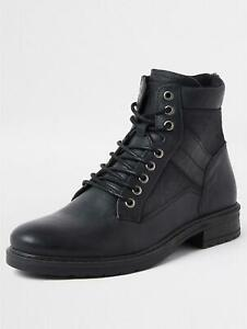 NEW MENS Ex R*VER ISLAND BUCKLEY DUSTRESSED BLACK LEATHER BOOTS UK 11 / EU 45