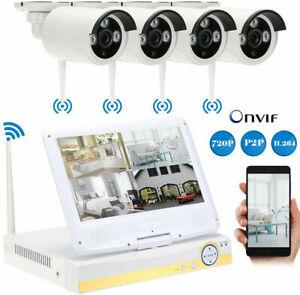 Kit Videosorveglianza con 4 Telecamere MONITOR LCD 10.1 WIFI DVR NVR 1080P