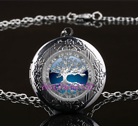 Celtic Blue Tree Of Life Glass Gun Black Chain Locket Pendant Necklace