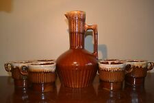 Lot of 6 Monmouth Stoneware Mugs/Cups-w Decanter Brown Drip USA Pottery