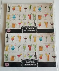 Lot 2 Michel Design Works Cocktail Hour Paper Placemats 25 Sheet Pad (Total 50)