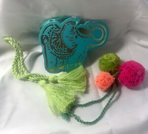 Lilly Pulitzer Lucky Trump-Up Elephant, Tassels & Pompoms 2017 Gift Tag New