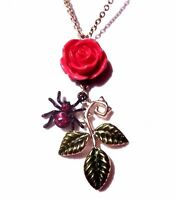 ROSE THORN PENDANT NECKLACE black spider pink flower psychobilly punk gothic D6