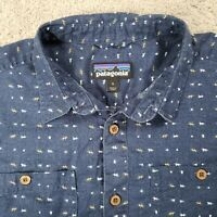 Patagonia Back Step Shirt Size Small Hemp/Cotton Tiger Micro Stone Blue Mens