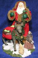 "Christmas Santa Figurine Traditions Fabric Mache Animals Reindeer Mint Cond 11"""