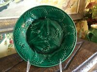 Antique Green Majolica English Leaf Plate 8 inches