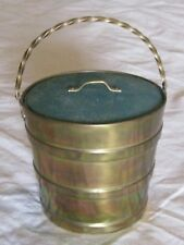Vintage Victorian Brass Barrel Purse Sewing Basket Twisted Handle Matching Lid