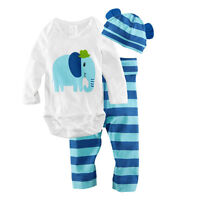 UK NEW 3Pcs/Set Newborn Baby Boys Girls Kids Romper Hat Pants Bodysuit Outfits