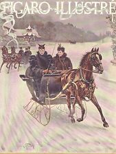 Horse Drawn Sleigh, Winter Recreation, Fashion Fur 1894 French Antique Art Print