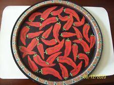 "Vintage -13 ""-Tin Round Chili Pepper Platter Serving Tray"
