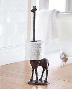 Cast Iron Giraffe Toilet Roll Holder Free Standing Novelty Kitchen Roll Holder