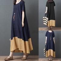 ZANZEA Women O Neck Short Sleeve Long Dress Ladies Patchwork Dress Plus Size