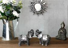 2x Silver Mosaic Elephant Ornaments Safari Animal Home Decor Lucky Sparkle