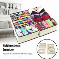 4PCS Foldable Organizer Drawer Storage Box Case For Bra Ties Underwear Socks