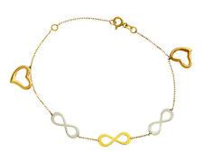 Goldarmband Damen Gold Armband Armkette mit Anhanger Infinity Herz 333 8KT 01143b1e6b
