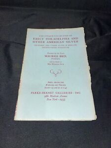 """""""Early Philadelphia and Other American Silver"""" 1955 Parke-Bernet Auction Catalog"""