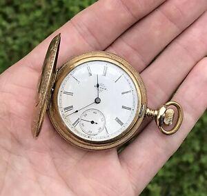 ANTIQUE 1897 ELGIN 7J 6s GOLD FILLED HUNTER CASE POCKET WATCH