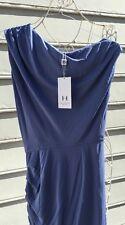 Halston Heritage Galaxy Blue Twisted Skirt Jersey Dress Sz 2