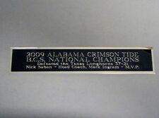 2009 Alabama Crimson Tide BCS Nameplate For A Signed Football Photo 1.5 X 6