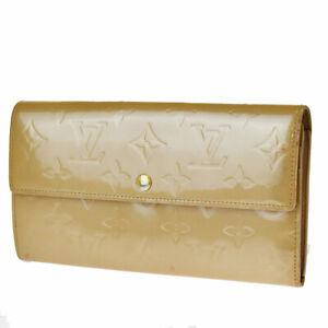 Auth LOUIS VUITTON Credit Long Bifold Wallet Monogram Vernis BE M91171 07BS565