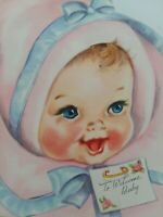 1950s Vtg SWEET BABY Faux CURL Hair To WELCOME BABY CONGRATS GREETING CARD