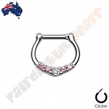 316L Surgical Steel Silver Ion Plated Septum Ring Clicker with 5 Pink Clear Gems