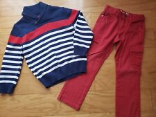 crazy8 by gymboree boys 2pc outfit striped sweater red jean pants size 5 6