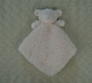 Blankets & Beyond Pink Lamb Sheep Lovey Security Blanket Frizzy Fuzzy Furry Soft