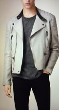 NWT BURBERRY $2395 MENS FILKINS BIKER MOTO LEATHER JACKET SMALL MADE IN ITALY