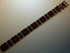 New Mens LONG EZ Pass Thru Timex ONE PIECE 20mm Watch Band Red Black White Plaid
